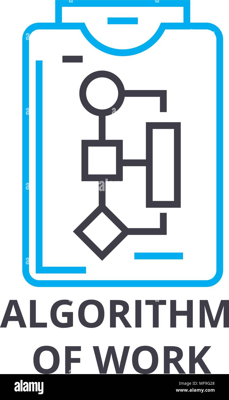 algorithm of work thin line icon, sign, symbol, illustation, linear concept, vector  - Stock Image