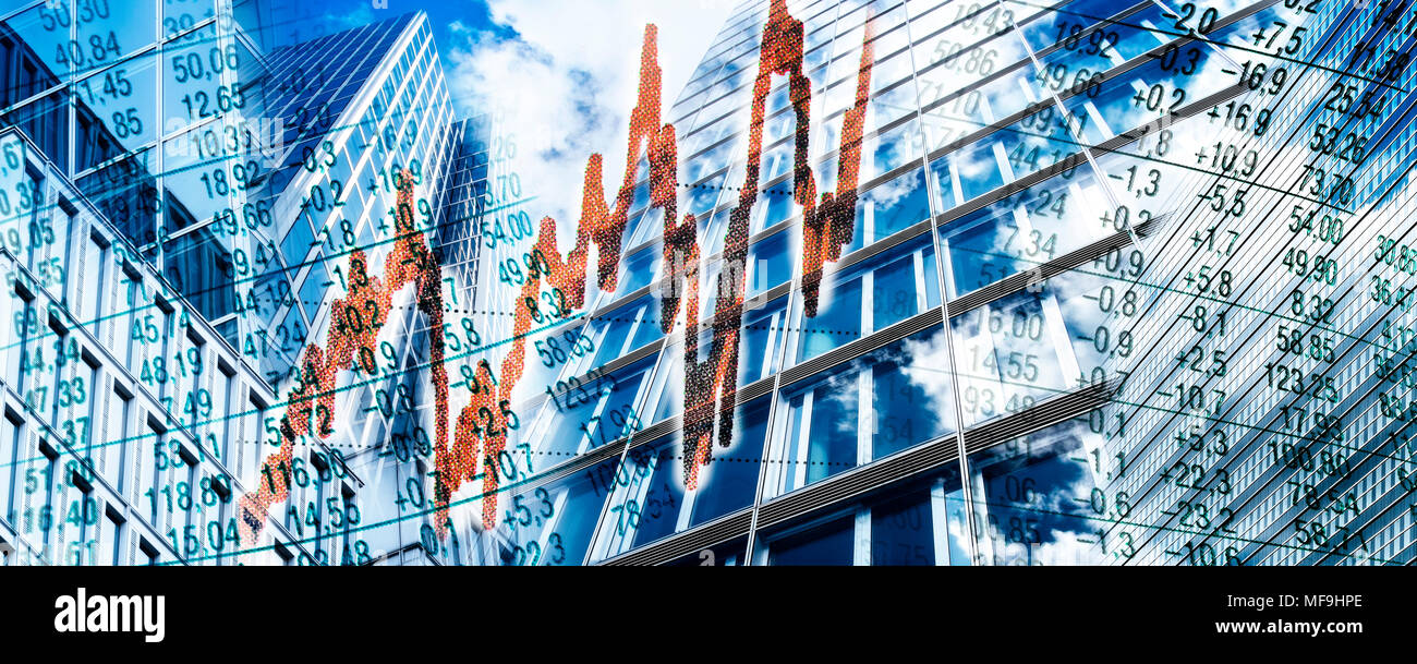 Composing with skyscrapers, stock charts and a red graph - Stock Image