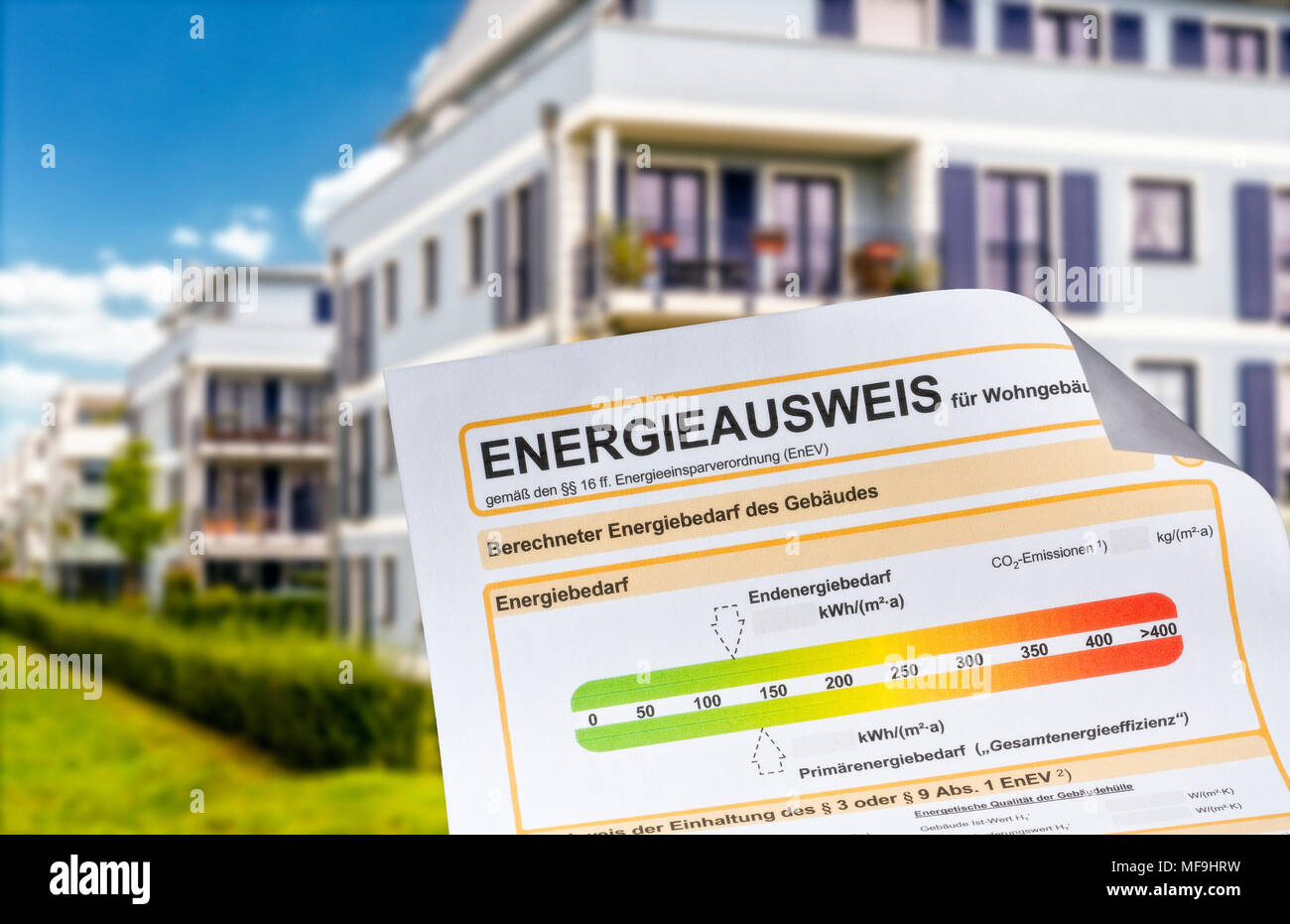 Energy pass with apartment buildings in the background - Stock Image
