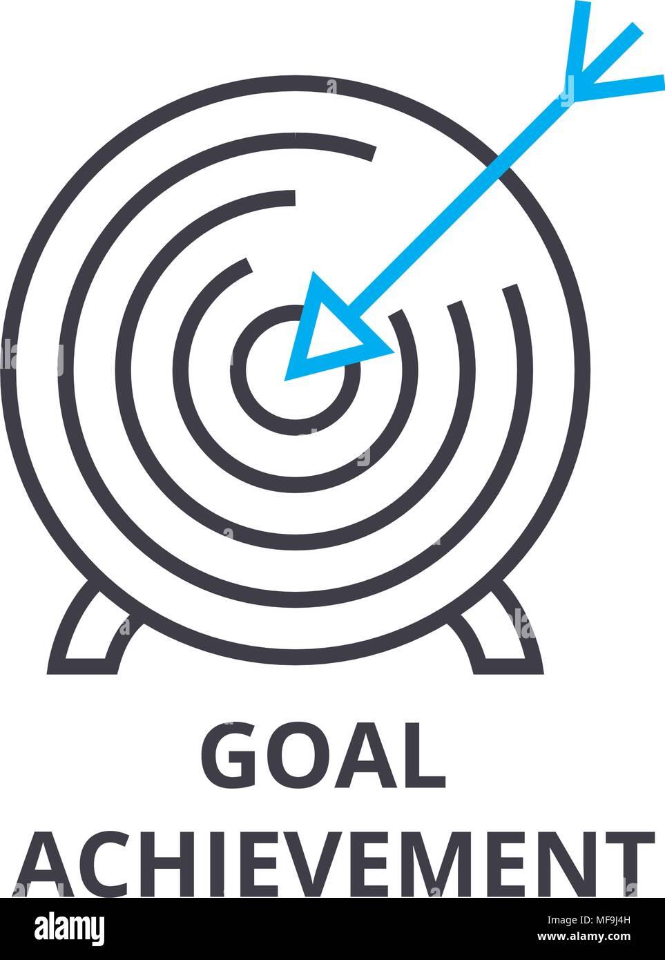 Goal Achievement Thin Line Icon Sign Symbol Illustation Linear Concept Vector