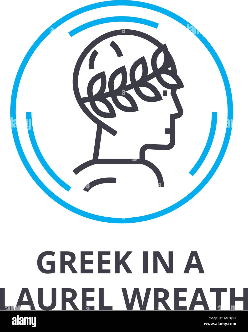 greek in a laurel wreath thin line icon, sign, symbol, illustation, linear concept, vector  - Stock Image