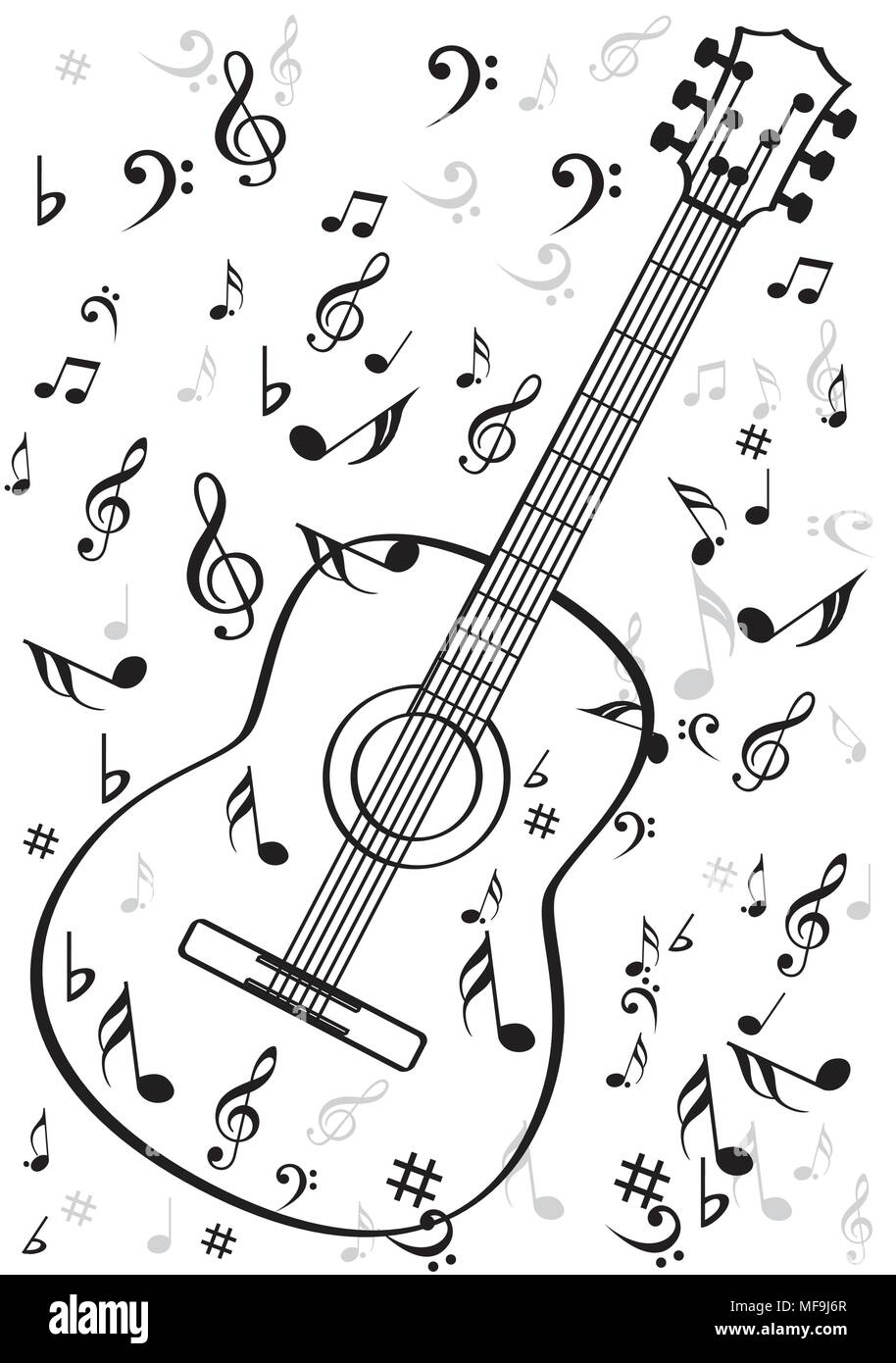 Guitar instrument with music symbols Stock Vector Art & Illustration