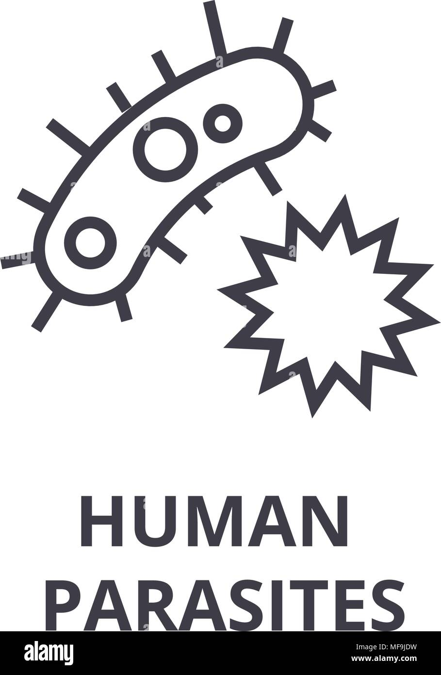 human parasites thin line icon, sign, symbol, illustation, linear concept, vector  Stock Vector