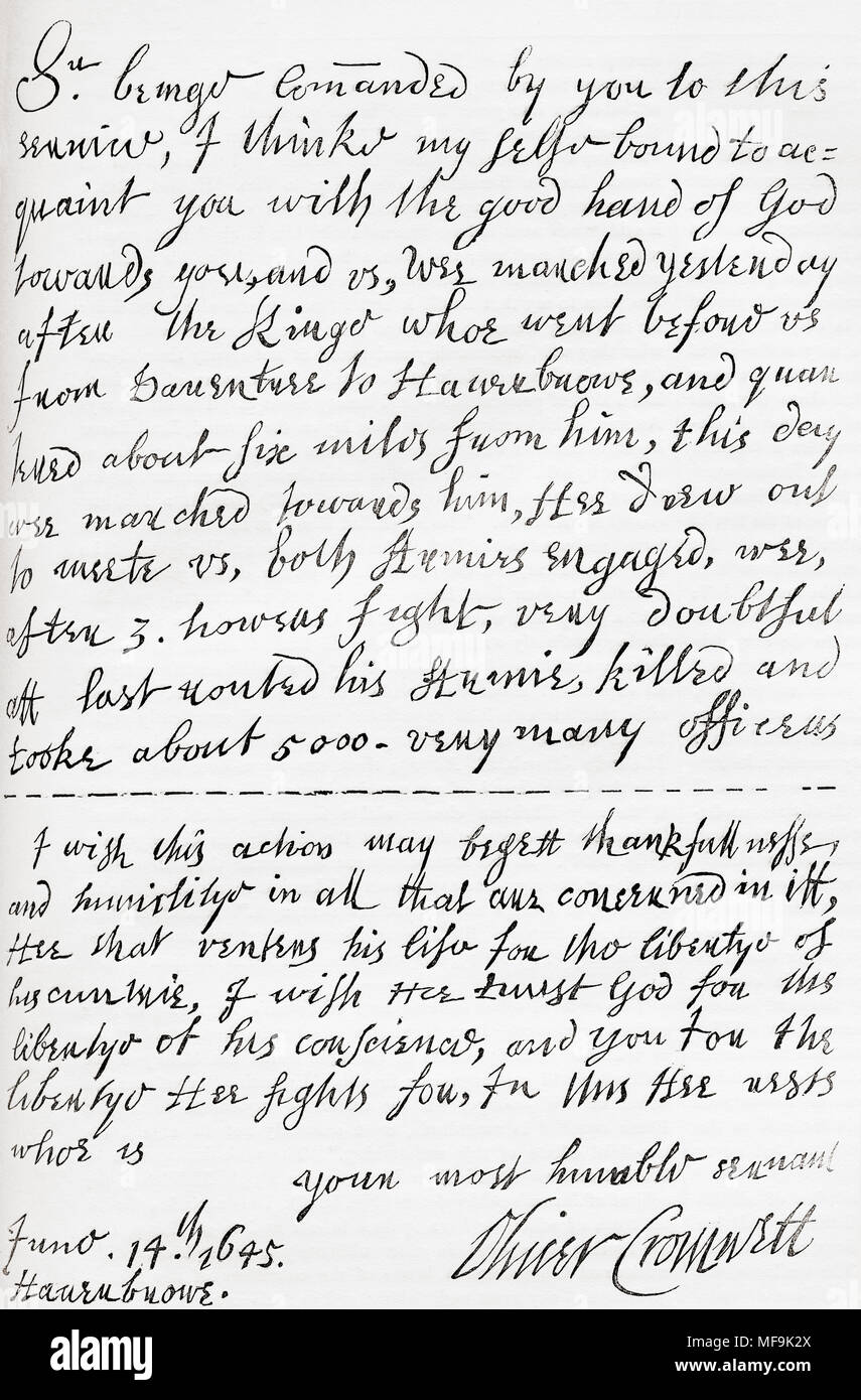 facsimile of a portion of the letter written by oliver cromwell to william lenthall speaker