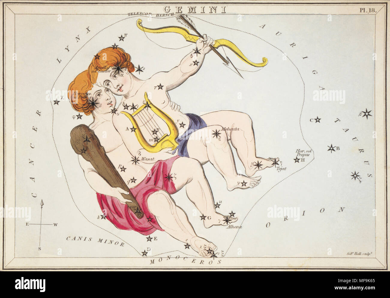 Gemini.  Card Number 18 from Urania's Mirror, or A View of the Heavens, one of a set of 32 astronomical star chart cards engraved by Sidney Hall and publshed 1824. - Stock Image