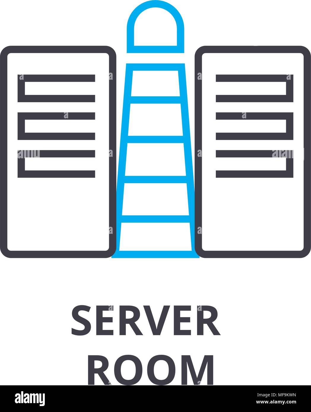 server room thin line icon, sign, symbol, illustation