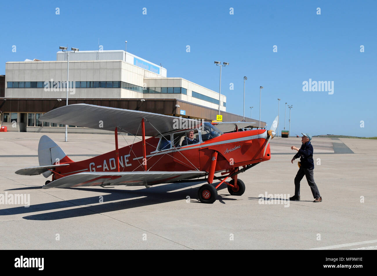 De Havilland DH87 Hornet Moth on the apron of Sumburgh Airport Shetland - Stock Image