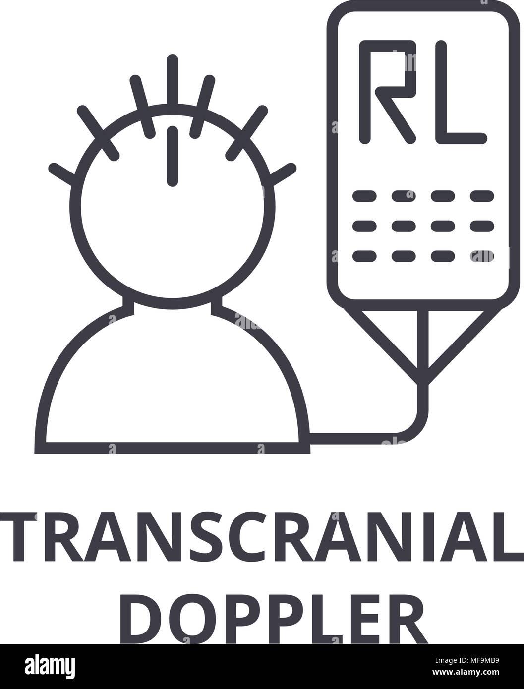 transcranial doppler thin line icon, sign, symbol, illustation, linear concept, vector  - Stock Vector