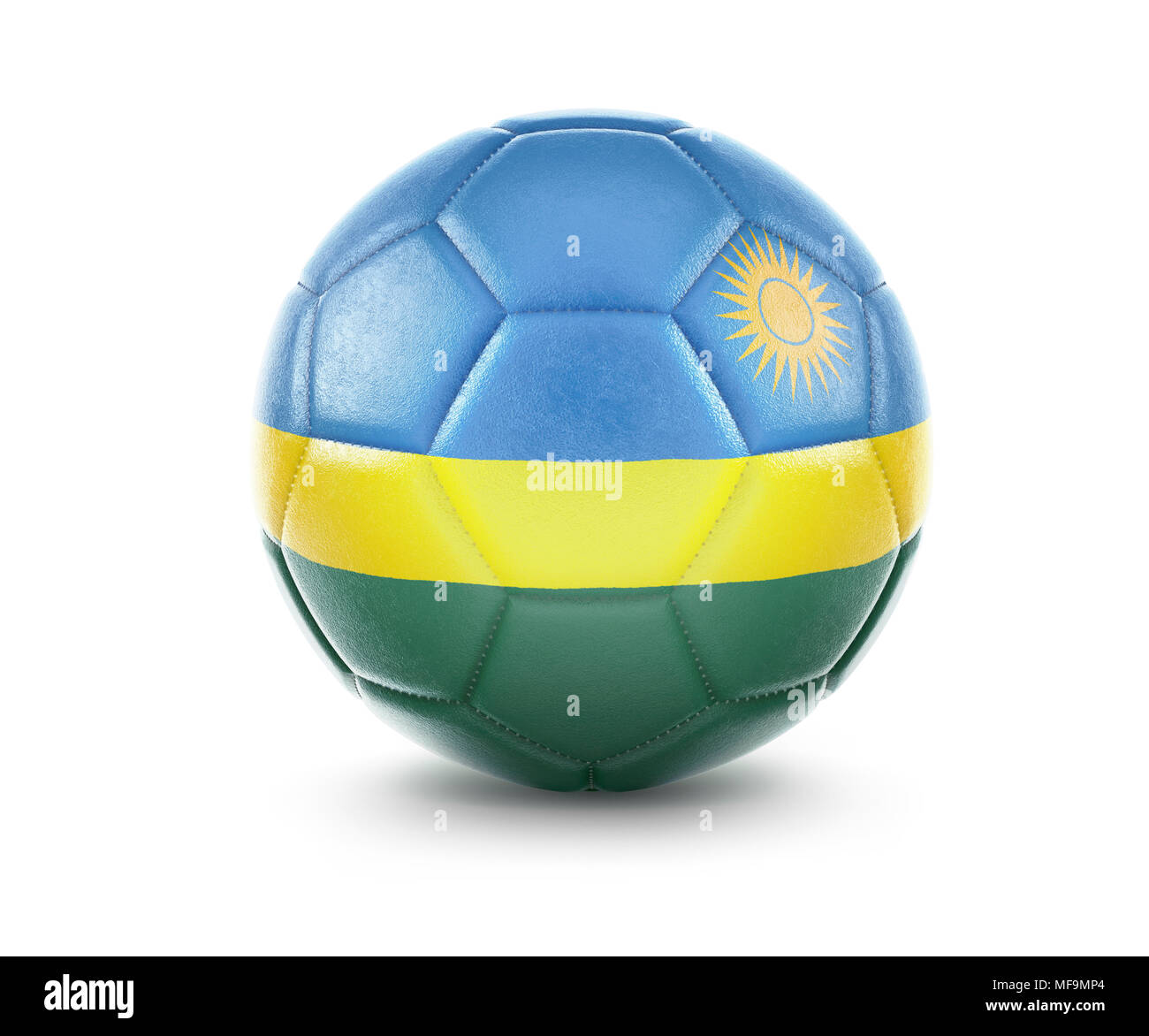 High qualitiy rendering of a soccer ball with the flag of Rwanda.(series) - Stock Image