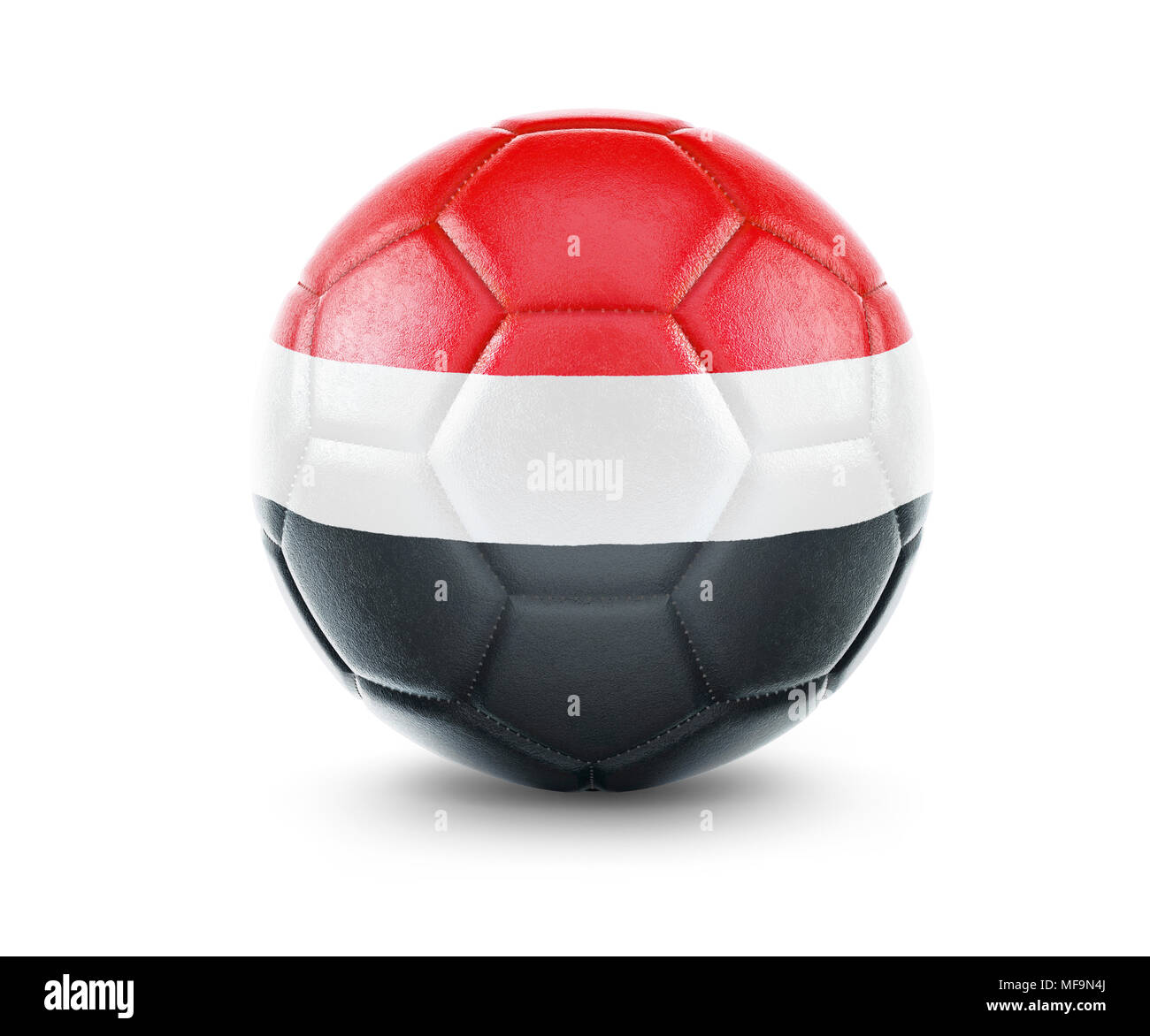 High qualitiy rendering of a soccer ball with the flag of Yemen.(series) - Stock Image