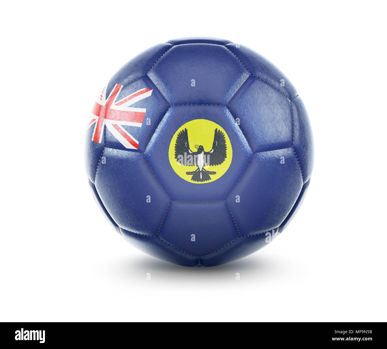 High qualitiy rendering of a soccer ball with the flag of South Australia.(series) - Stock Image