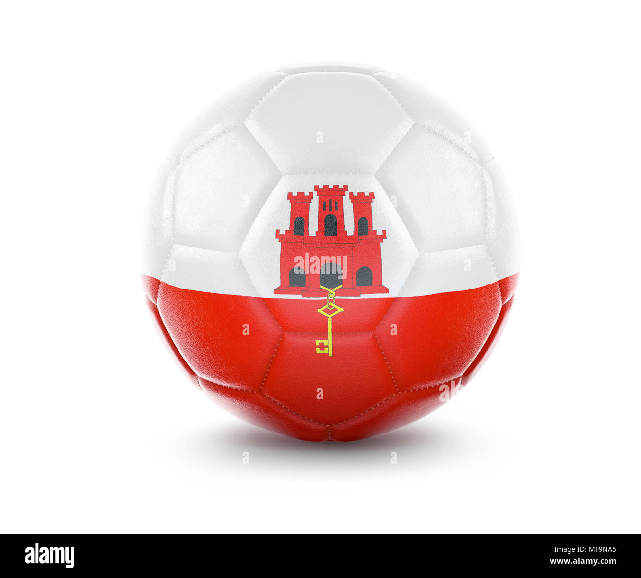 High qualitiy rendering of a soccer ball with the flag of Gibraltar.(series) Stock Photo