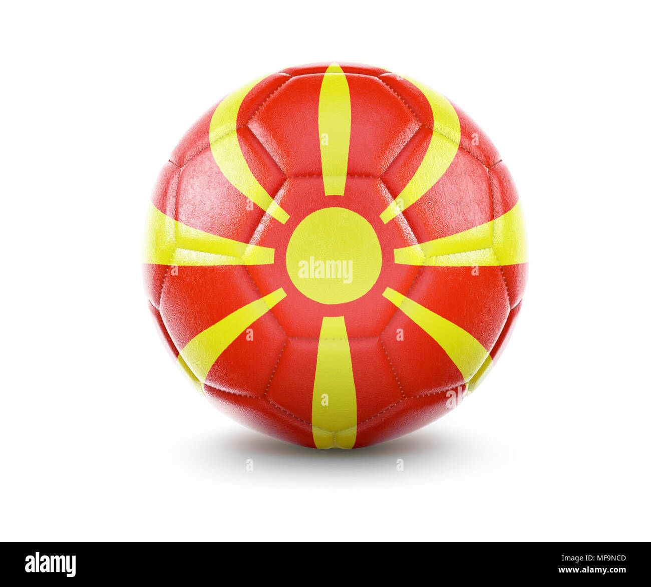 High qualitiy rendering of a soccer ball with the flag of Macedonia.(series) - Stock Image