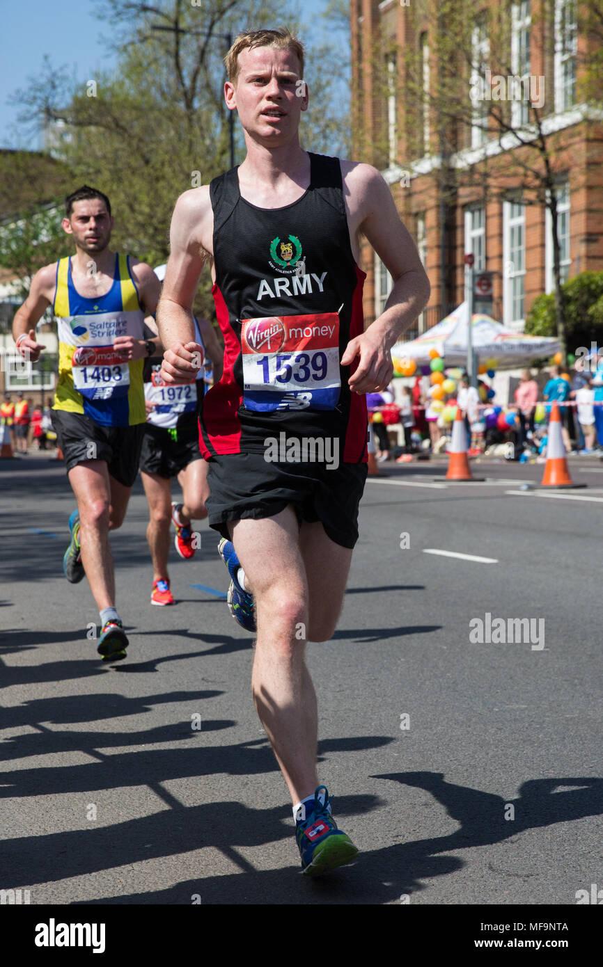 London, UK. 22nd April, 2018. James Keir of Blackburn Harriers competes in the 2018 Virgin Money London Marathon. Stock Photo