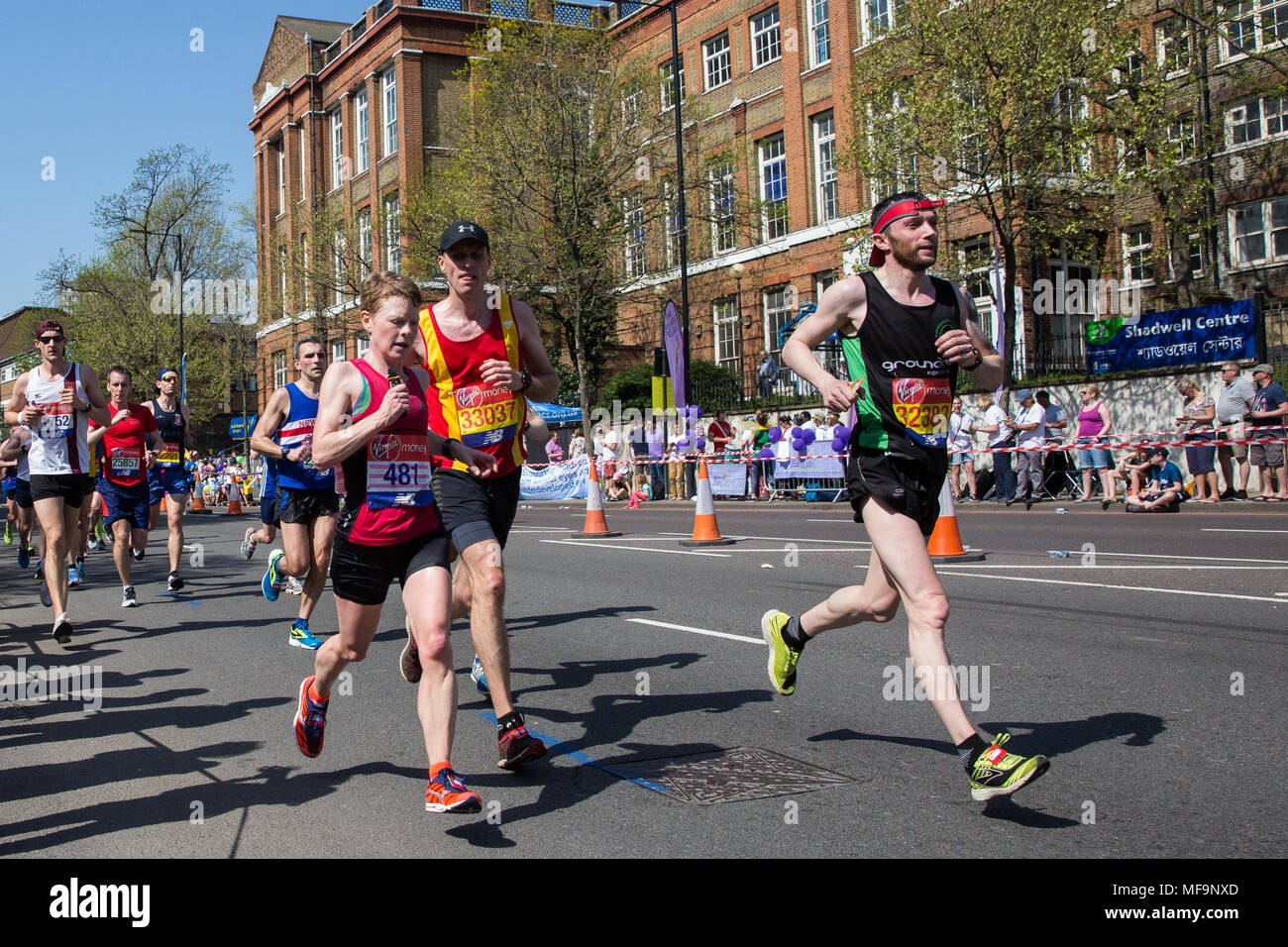 London, UK. 22nd April, 2018. Andrea Banks (l, Jersey Spartan AC), Edward Revell (c, Spenborough) and Barry McCarroll (r, Slieve Gullion) compete in t - Stock Image