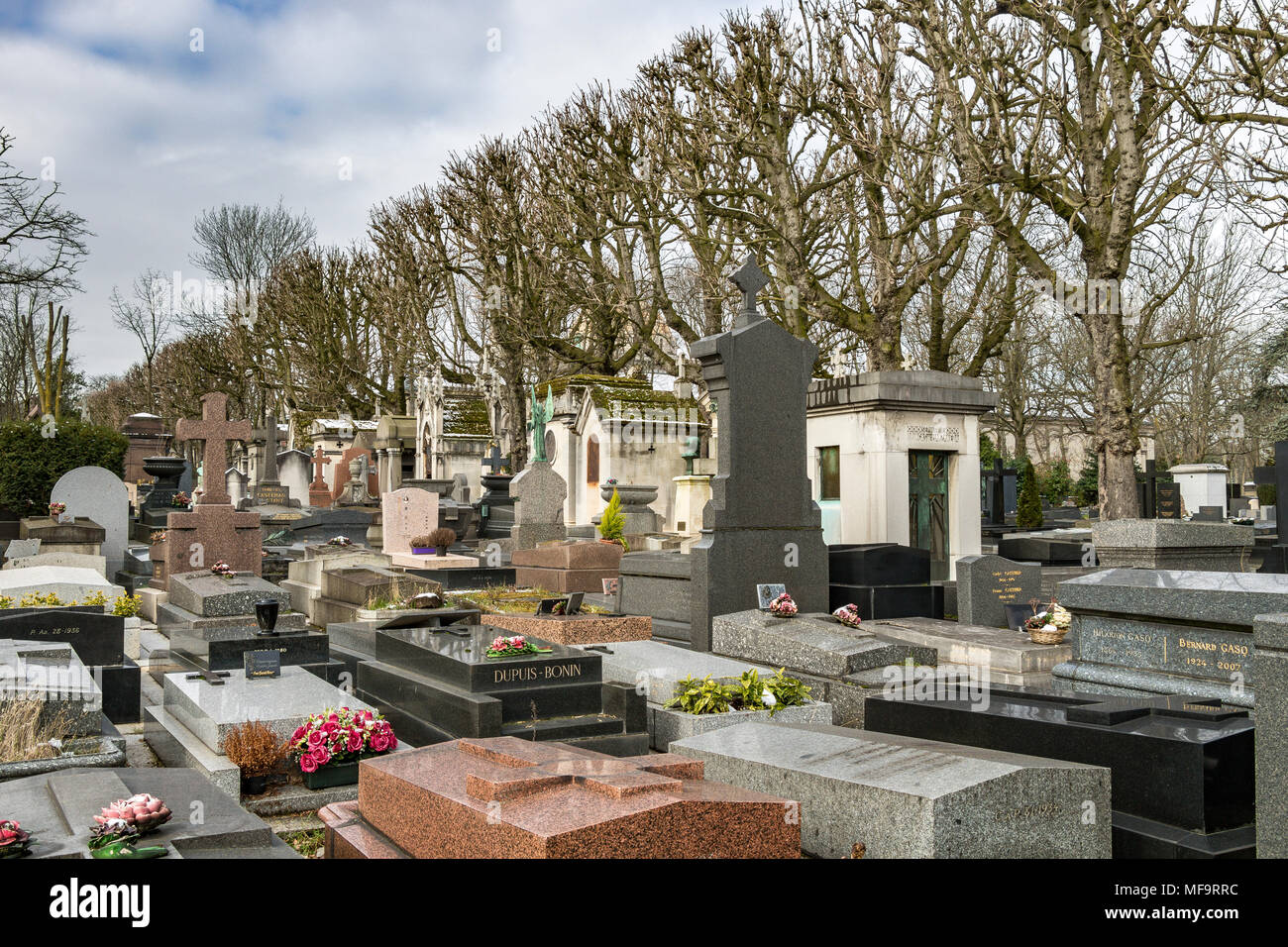 Tombstones at  Père Lachaise cemetery, the largest and most visited cemetery  in Paris Stock Photo