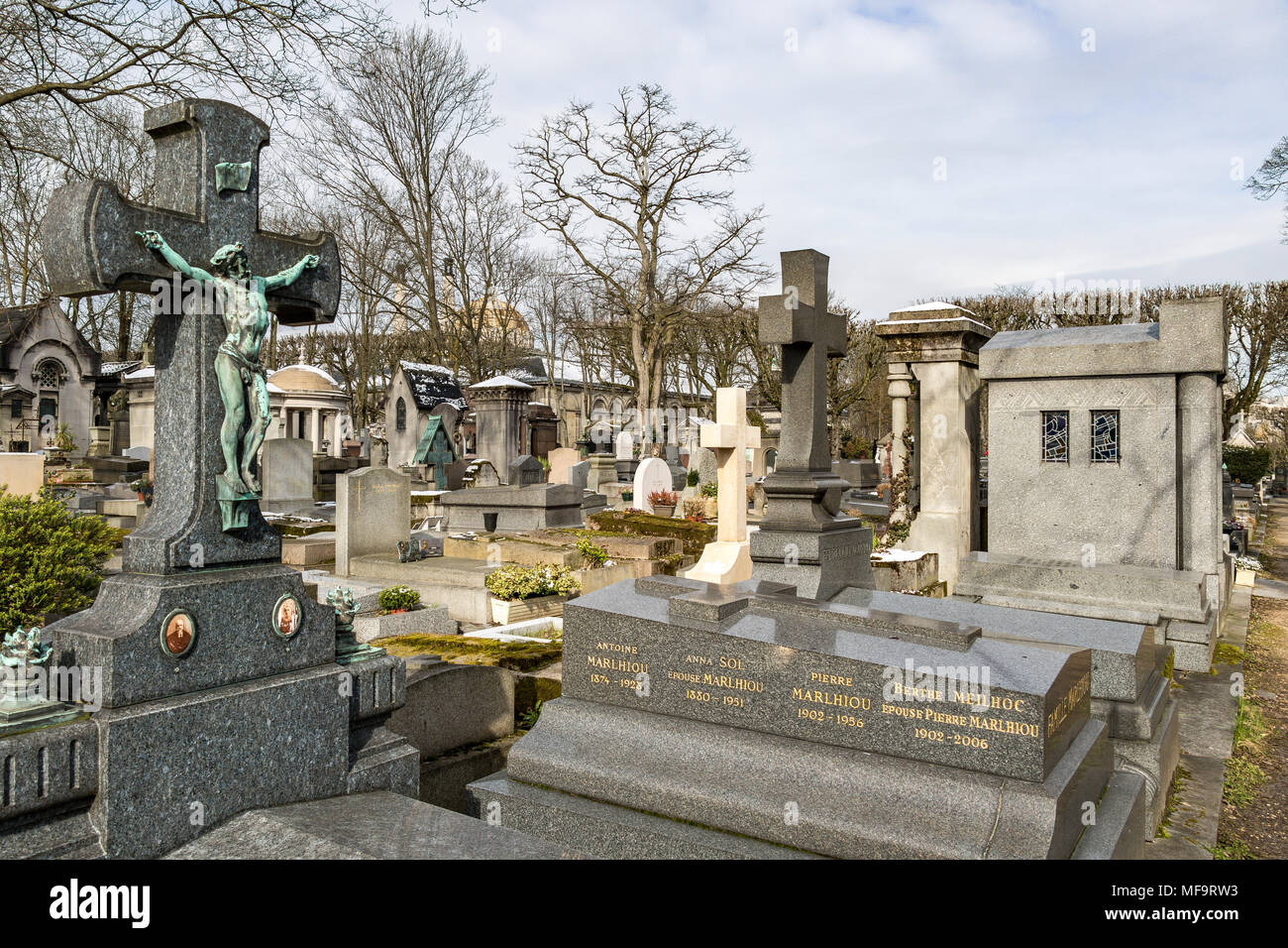 Tombstones at  Père Lachaise cemetery, the largest and most visited cemetery  in Paris - Stock Image