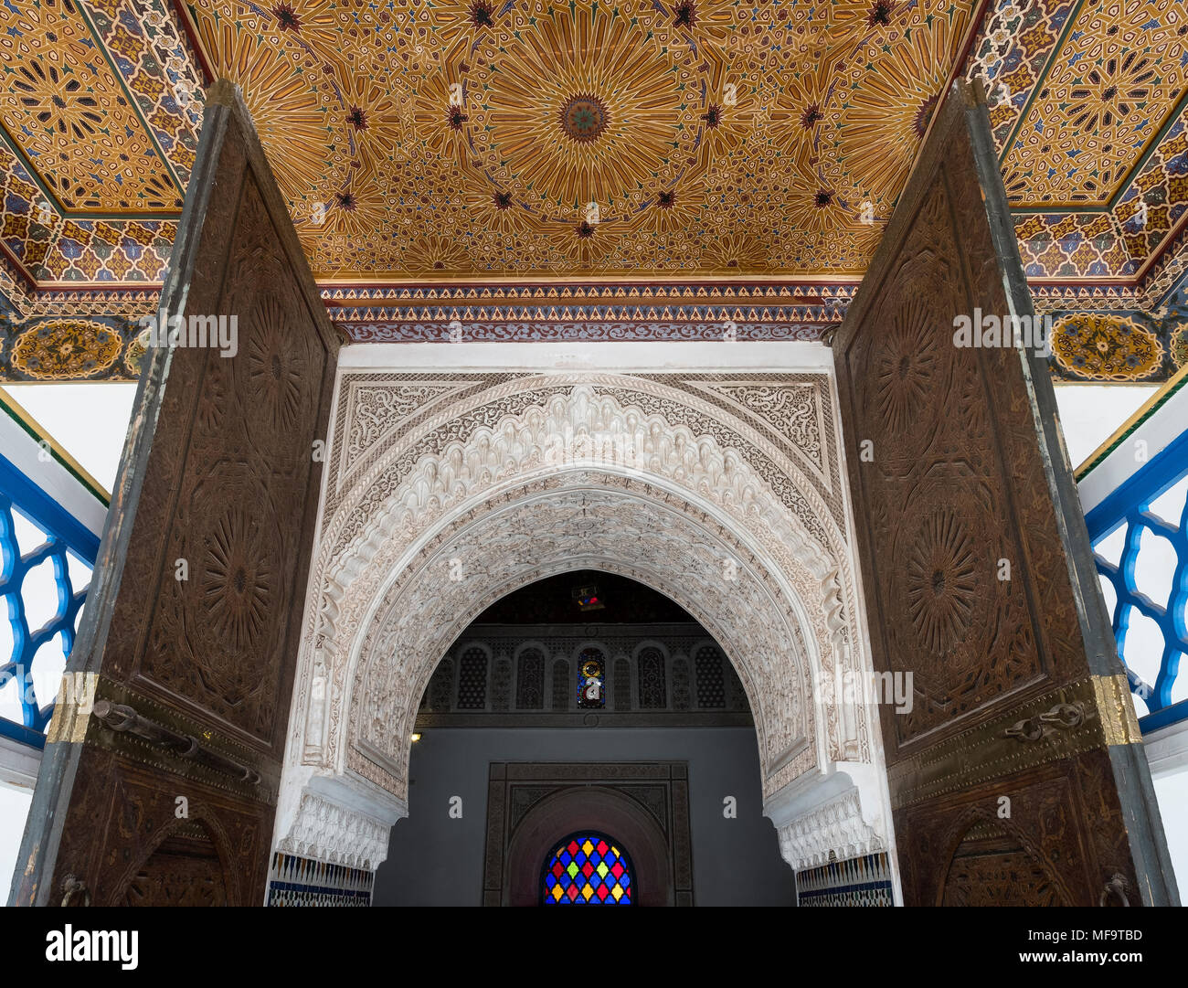 Exquisite Ornate detail of a doorway in the Bahia Palace, Marrakech, Morocco - Stock Image