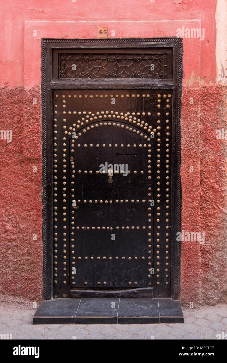 Typical House Doorway in the Backstreets of Marrakech, Marrakech, Morocco - Stock Image