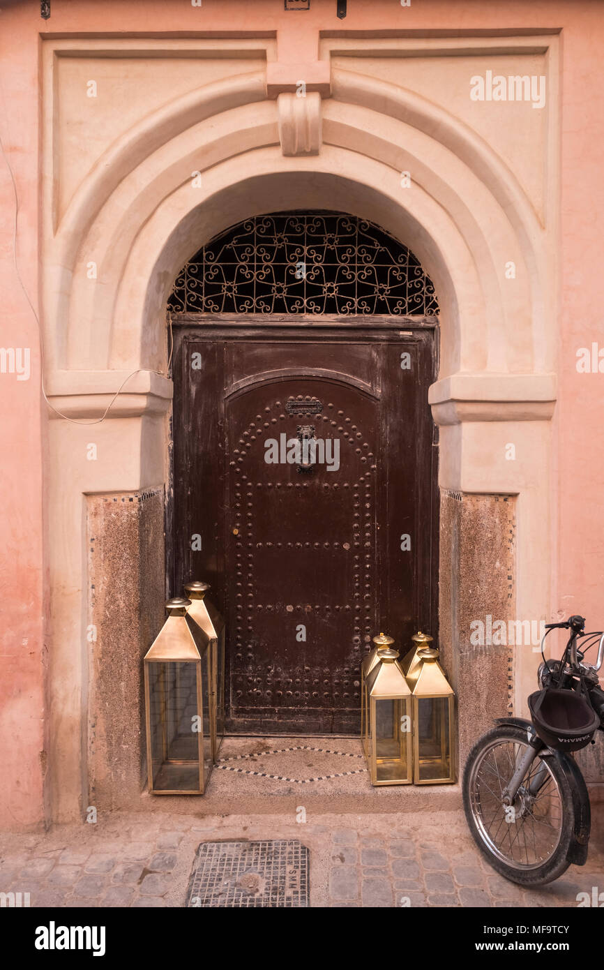 Typical House Entrance Doorway in the Backstreets of Marrakech, Marrakech, Morocco - Stock Image