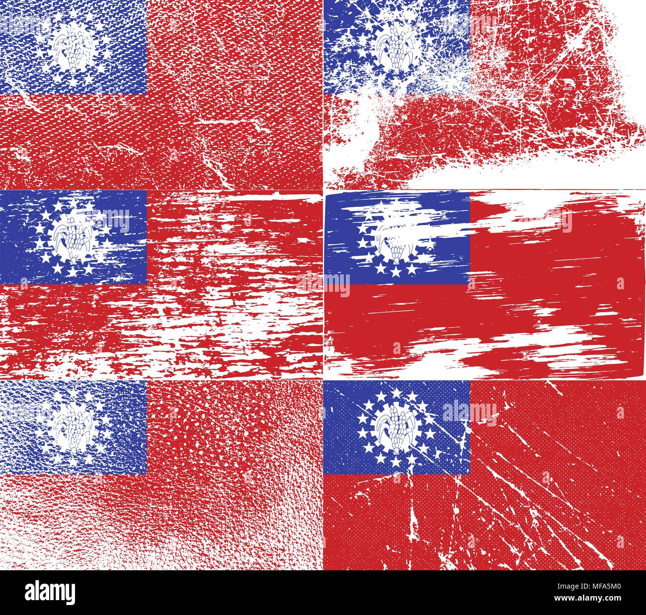 Flag of Myanmar Burma with old texture. Vector illustration - Stock Vector