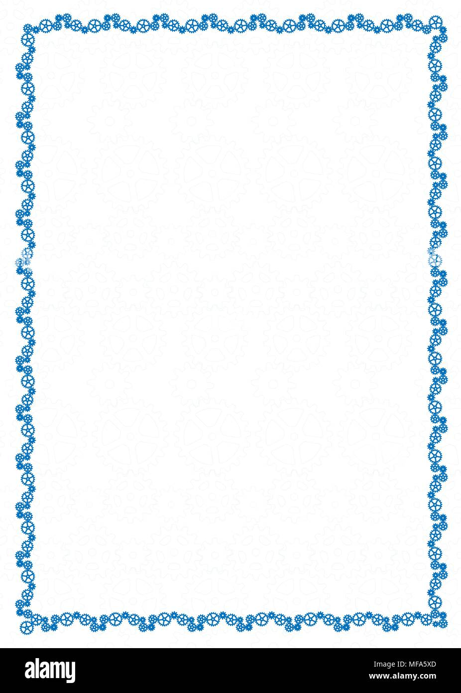 vector simple blue frame border with gear wheels for diploma