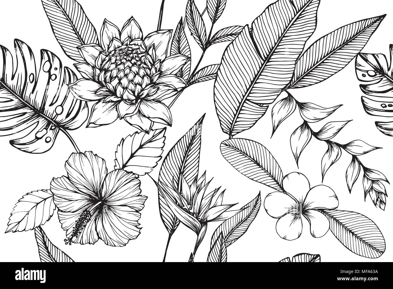 Hawaiian pattern seamless background with flower and leaf  drawing illustration. - Stock Image