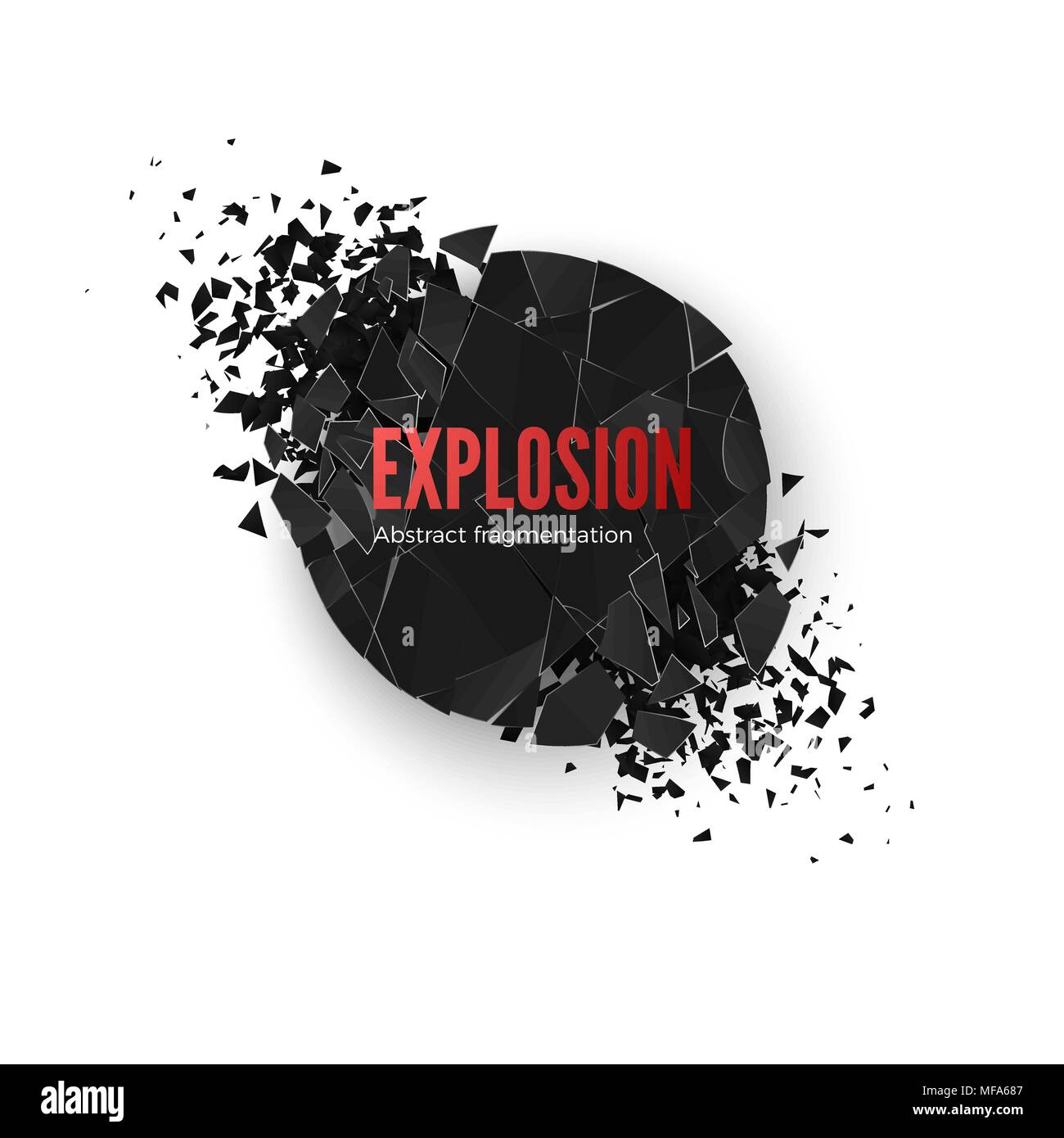 Banner Explosion  Simulation. Explode and destruction. Circle shatter effect. Vector illustration isolated on whide background - Stock Vector