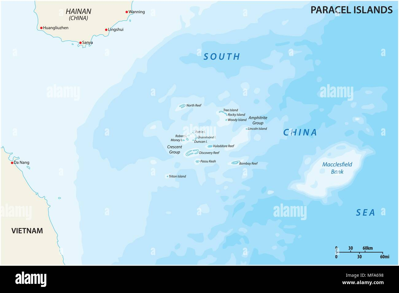 Map of the Paracel Islands controlled by China in the South China Sea - Stock Image