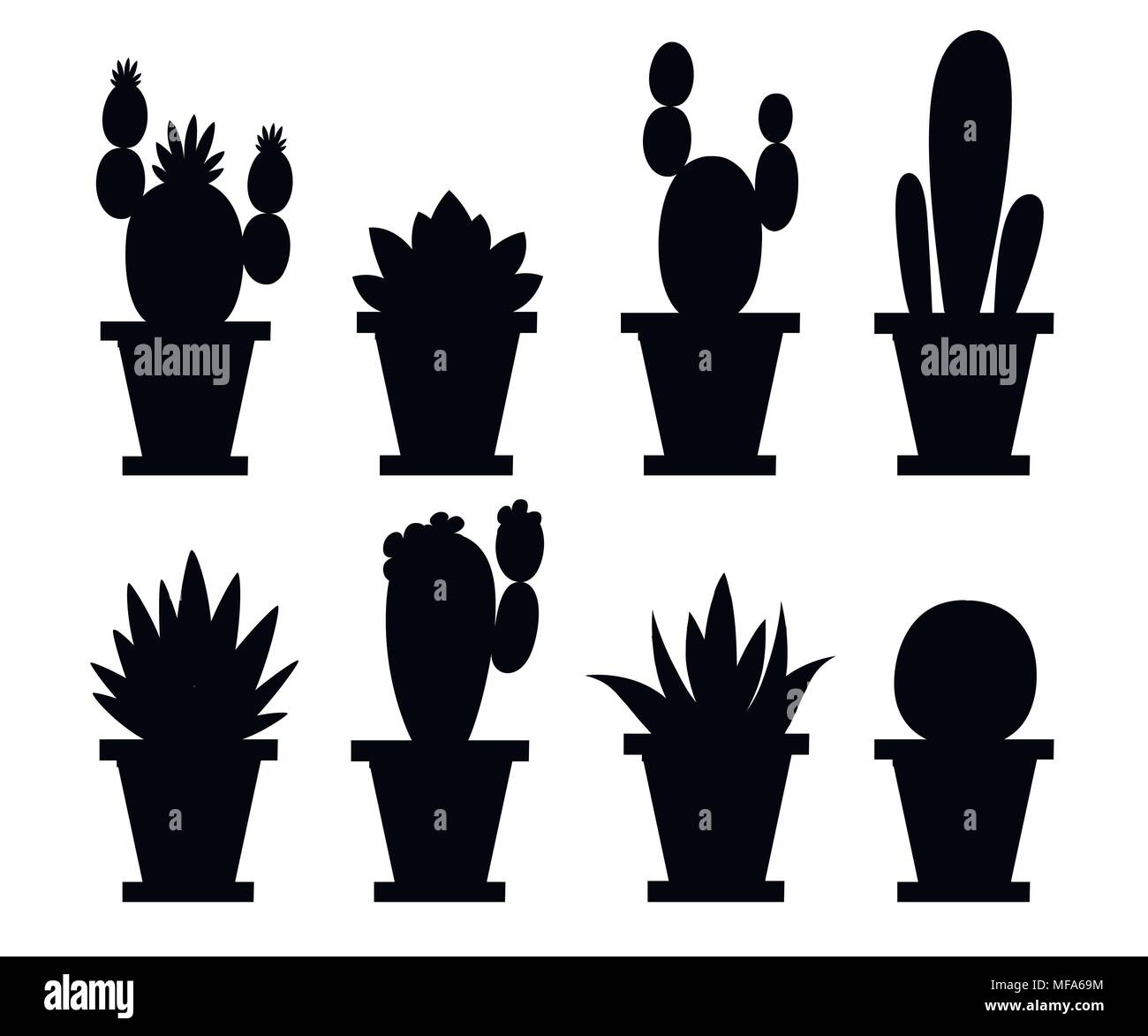 black silhouette set of flower and decorative cactus home plants