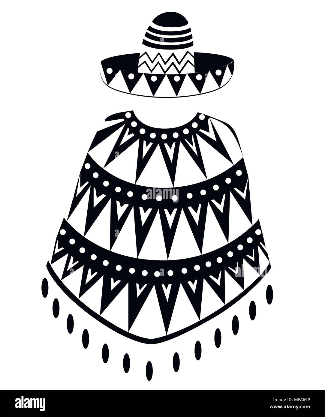 Black Silhouette Sombrero Cartoon Mexican Hat And Poncho Man