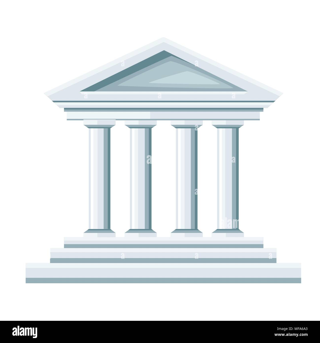 Greek temple illustration. Bank icon. Flat style design. Vector illustration isolated on white background. Web site page and mobile app. - Stock Vector