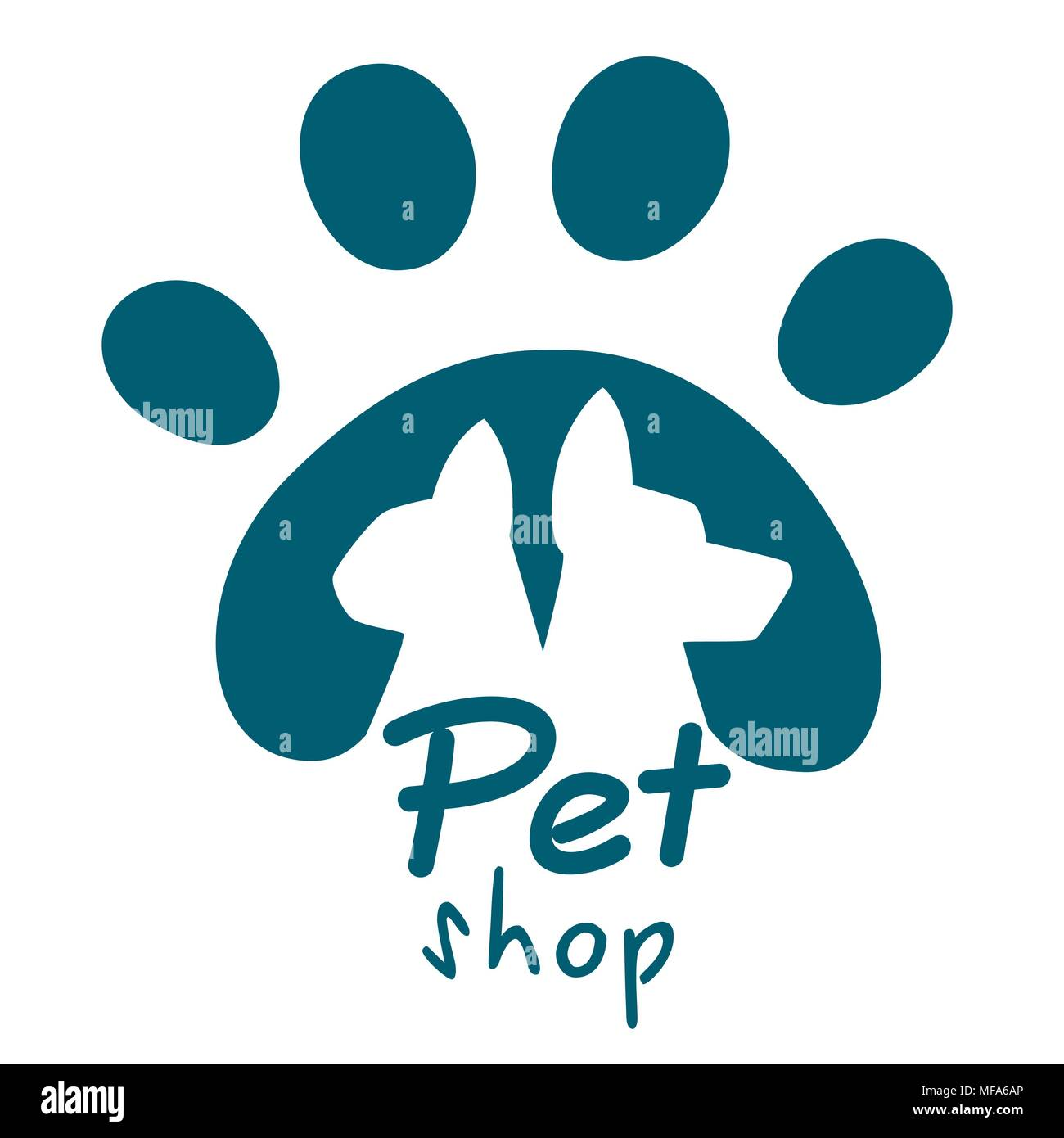 pet shop logo dog and cat icon vector logo emblem