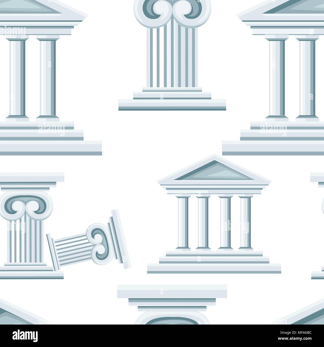 Seamless pattern of greek temple and column. Bank icon. Flat style design. Vector illustration isolated on white background. Web site page and mobile  - Stock Vector