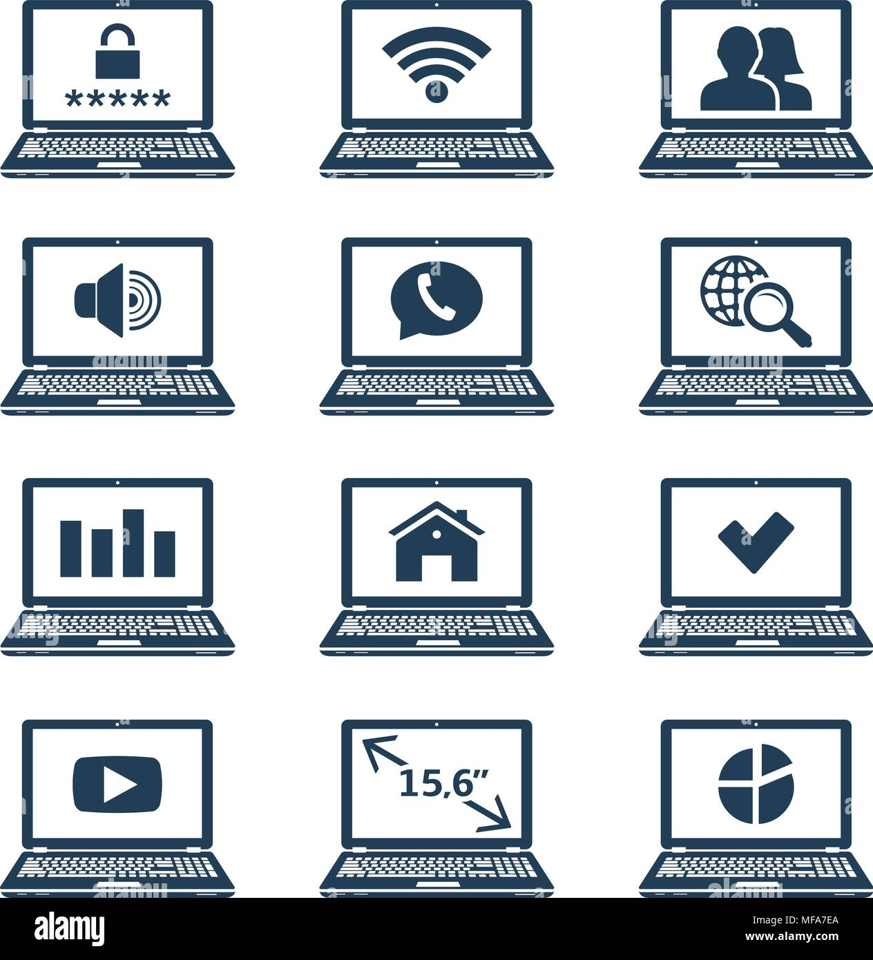 Laptop Icons With Signs And Symbols On Screen Vector Illustration