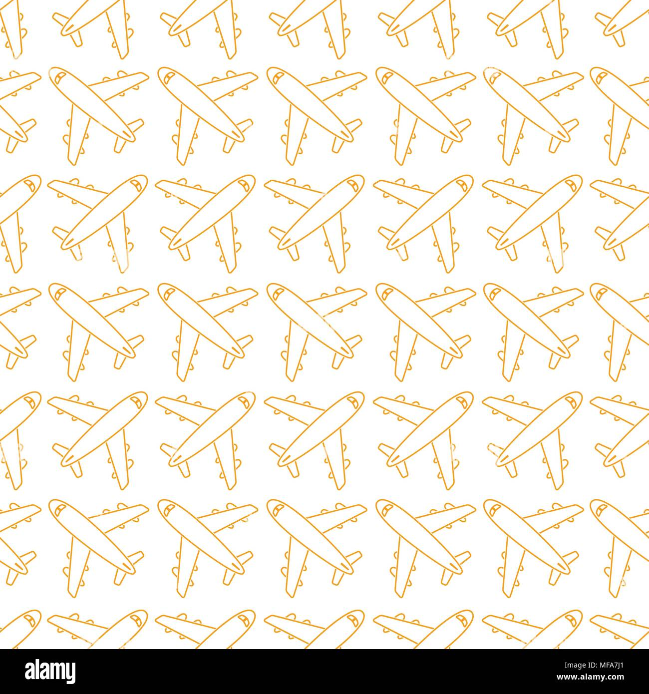 Seamless pattern with airplanes. Vector illustration - Stock Vector