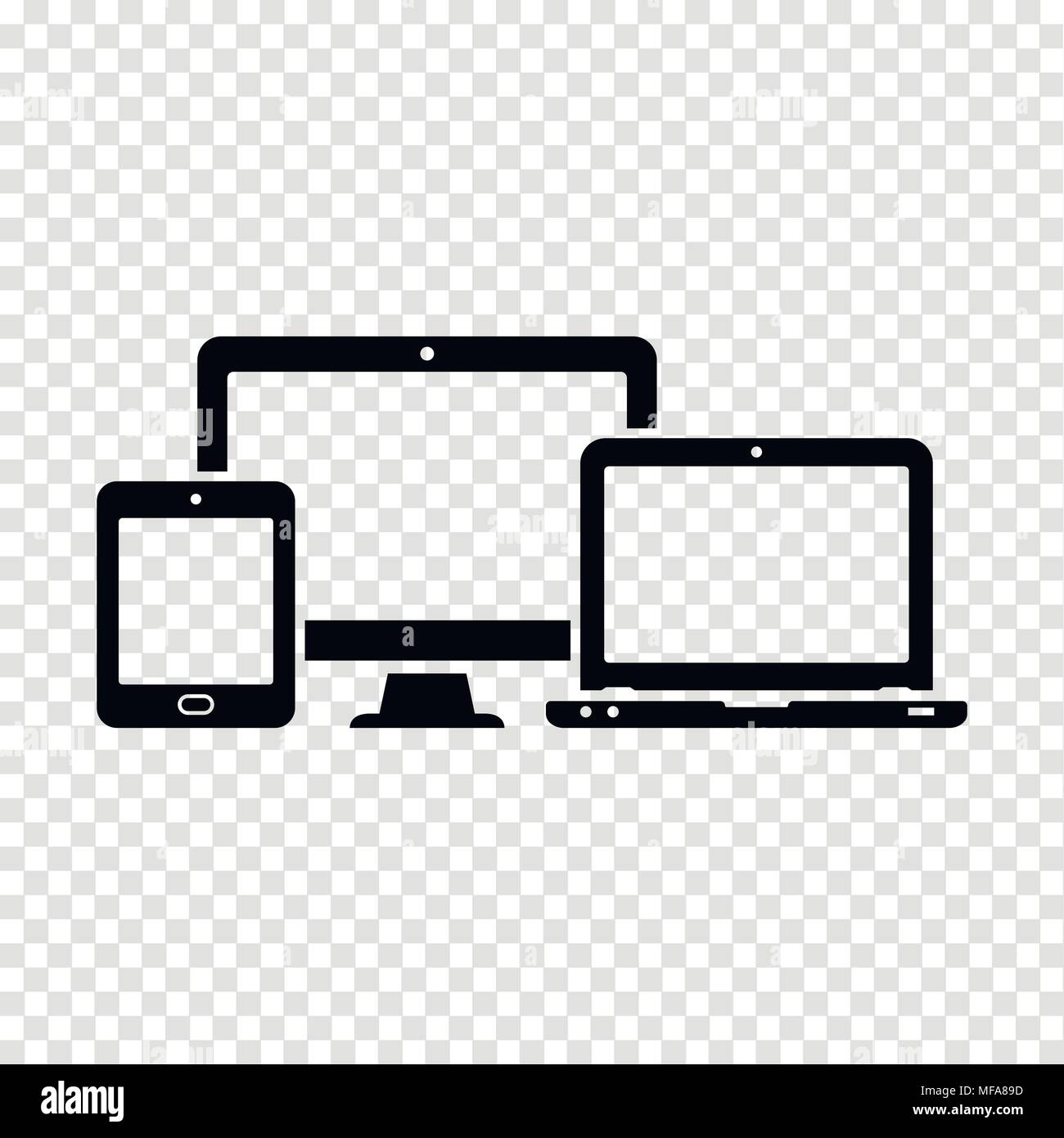 Electronic Devices Icons On Transparent Background Stock Vector Art