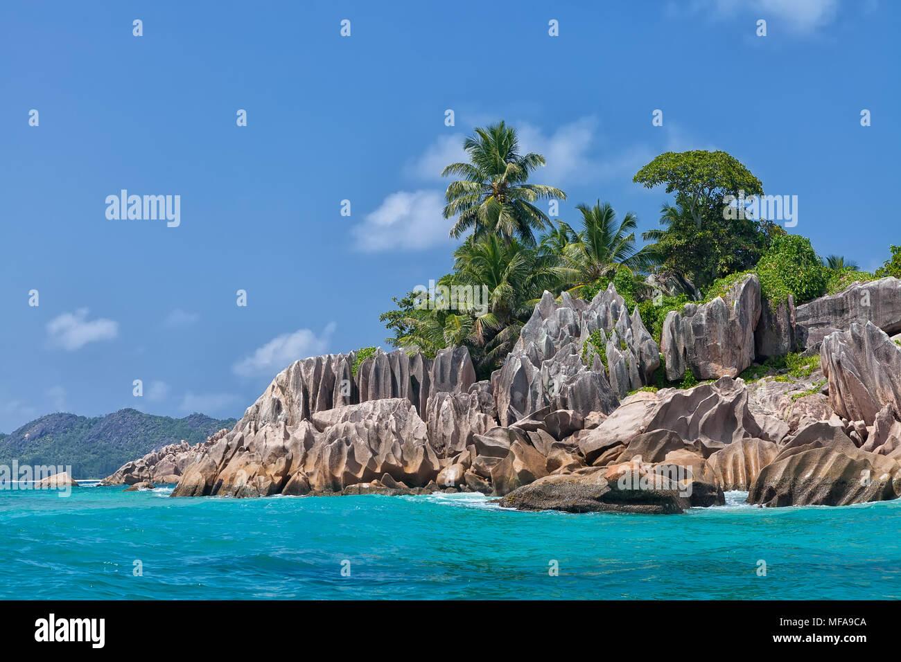 Beautiful tropical St. Pierre Island, Seychelles - Stock Image