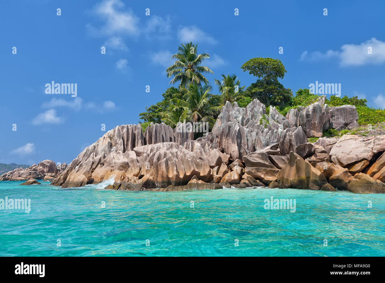 Beautiful tropical St. Pierre Island, Seychelles - Stock Image