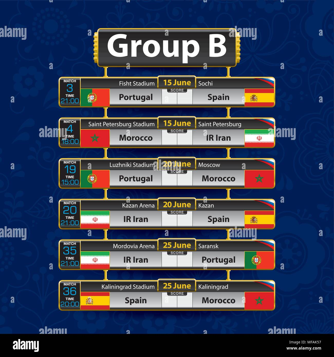 Russia World Cup 2018 Calendar. Group B With The Flag Of