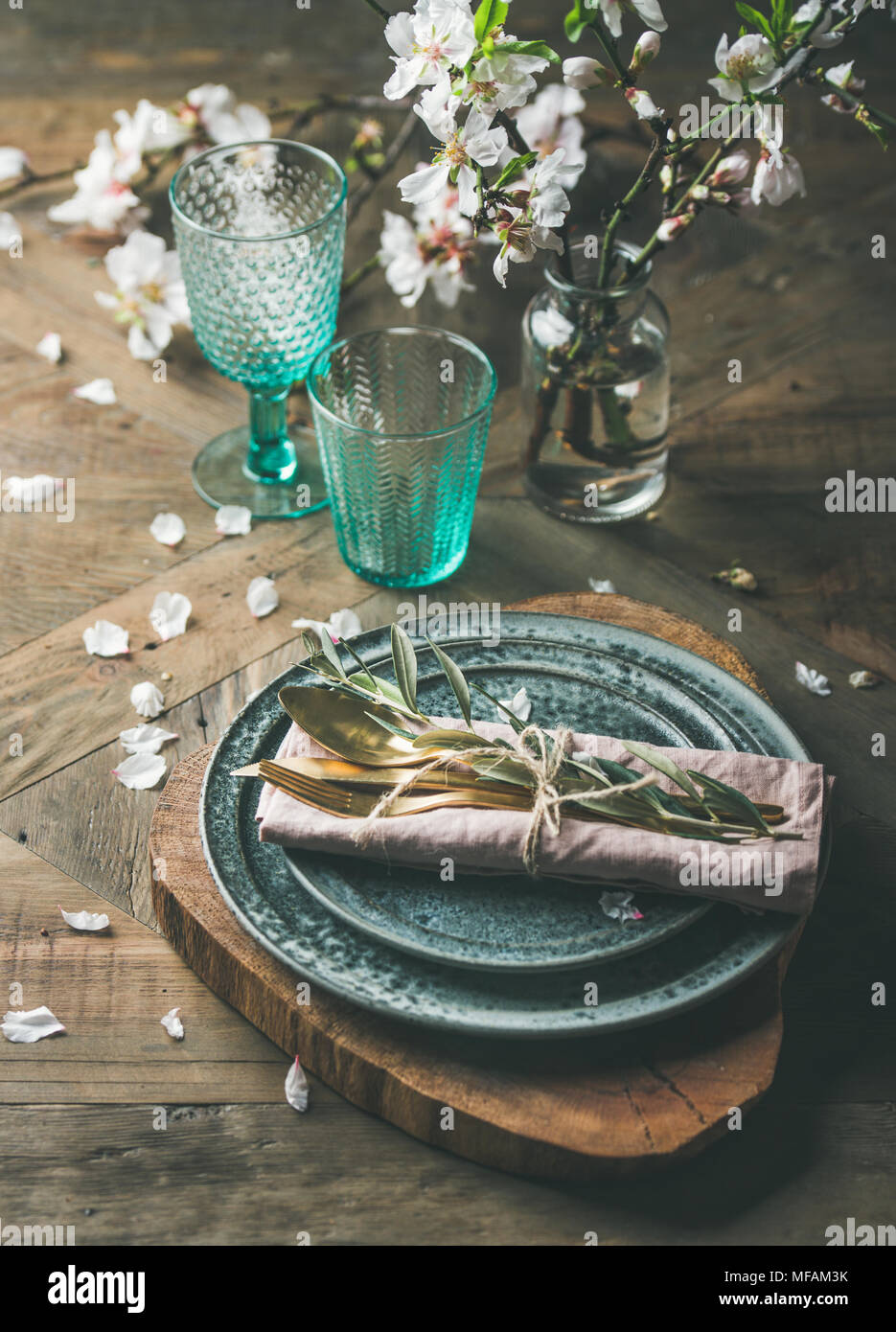 Spring Easter Table setting over vintage wooden background - Stock Image & Vintage Table Setting Easter Dinner Stock Photos \u0026 Vintage Table ...