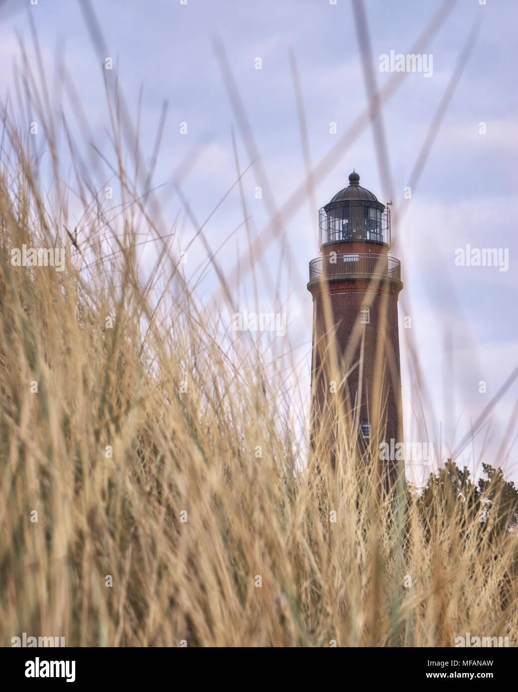 Sharp lighthouse on the peninsula Fischland-Darß-Zingst. Stock Photo