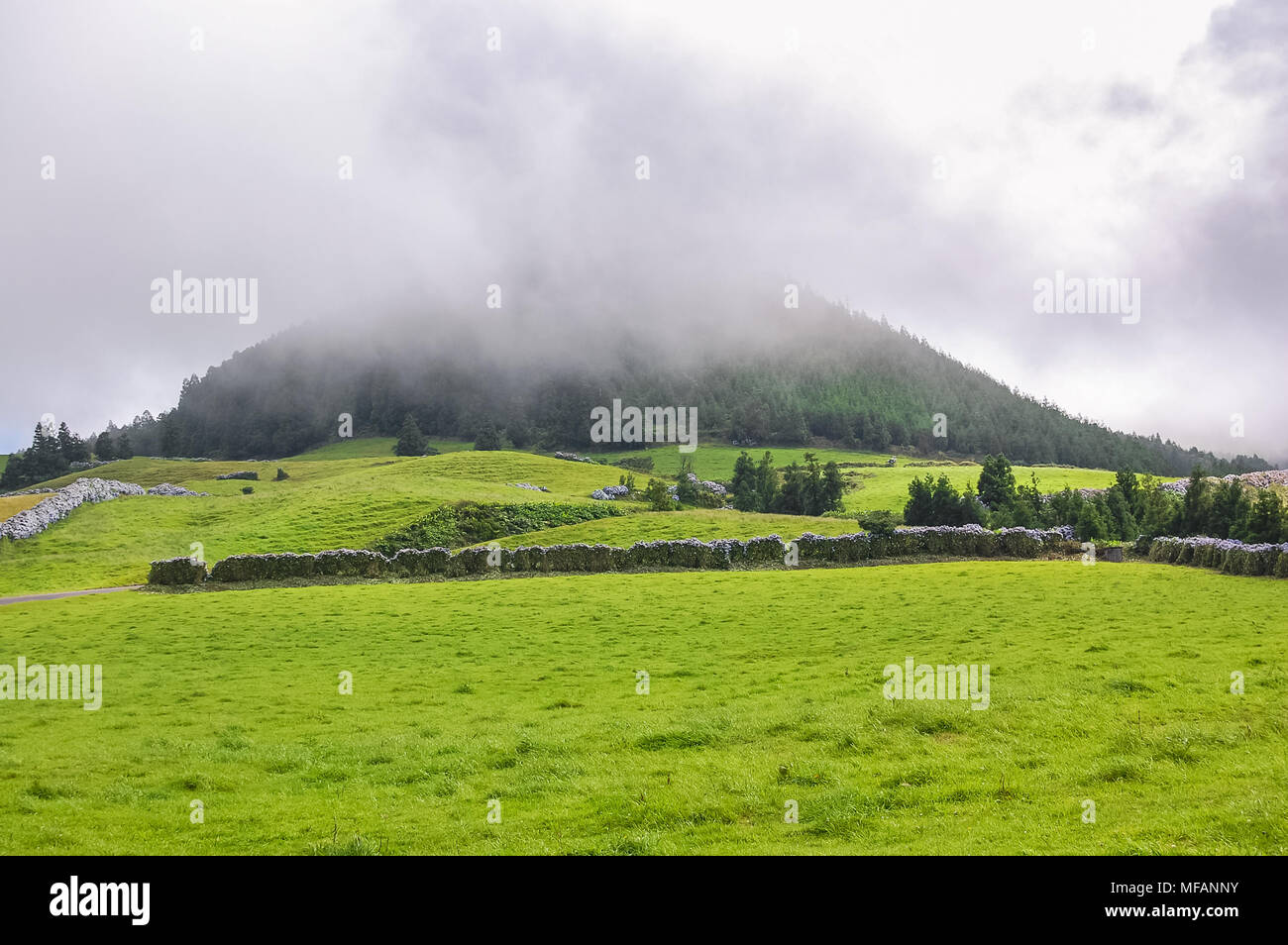 View on landscape at Azores Islands - Portugal Stock Photo