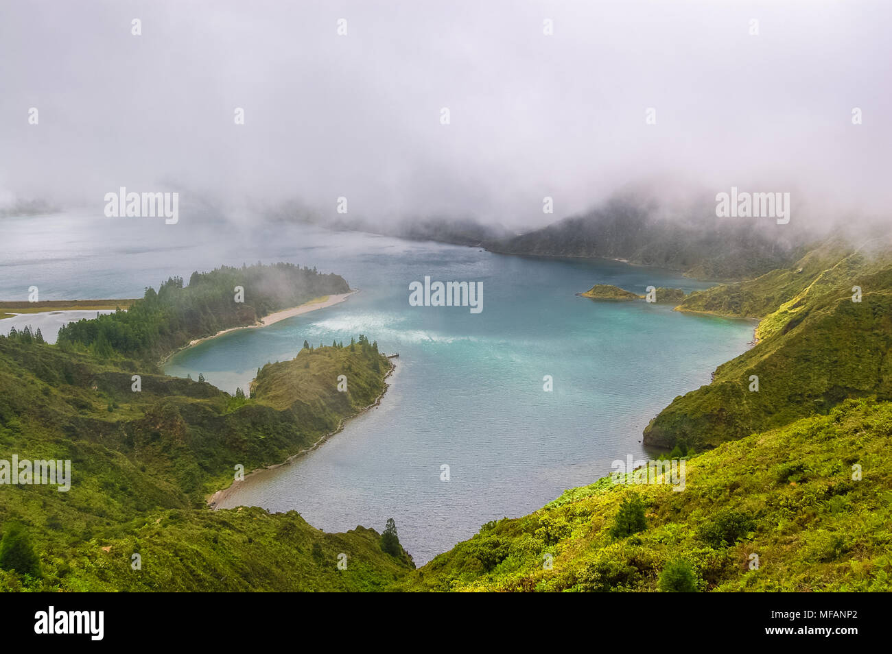 Sete Cidades lake view on Azores Islands in Portugal. Stock Photo