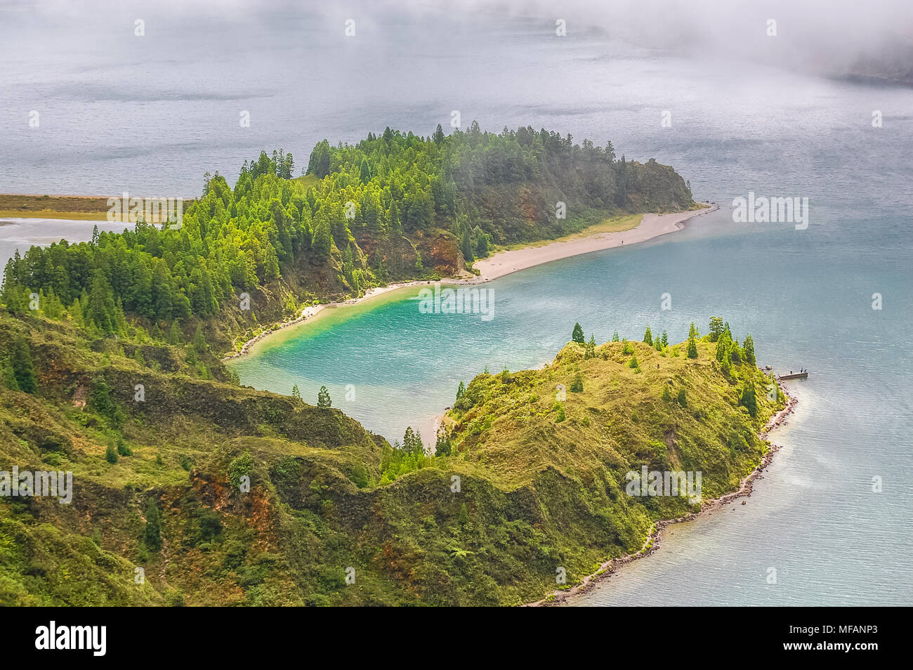 Sete Cidades lake view on Azores Islands in Portugal.Stock Photo