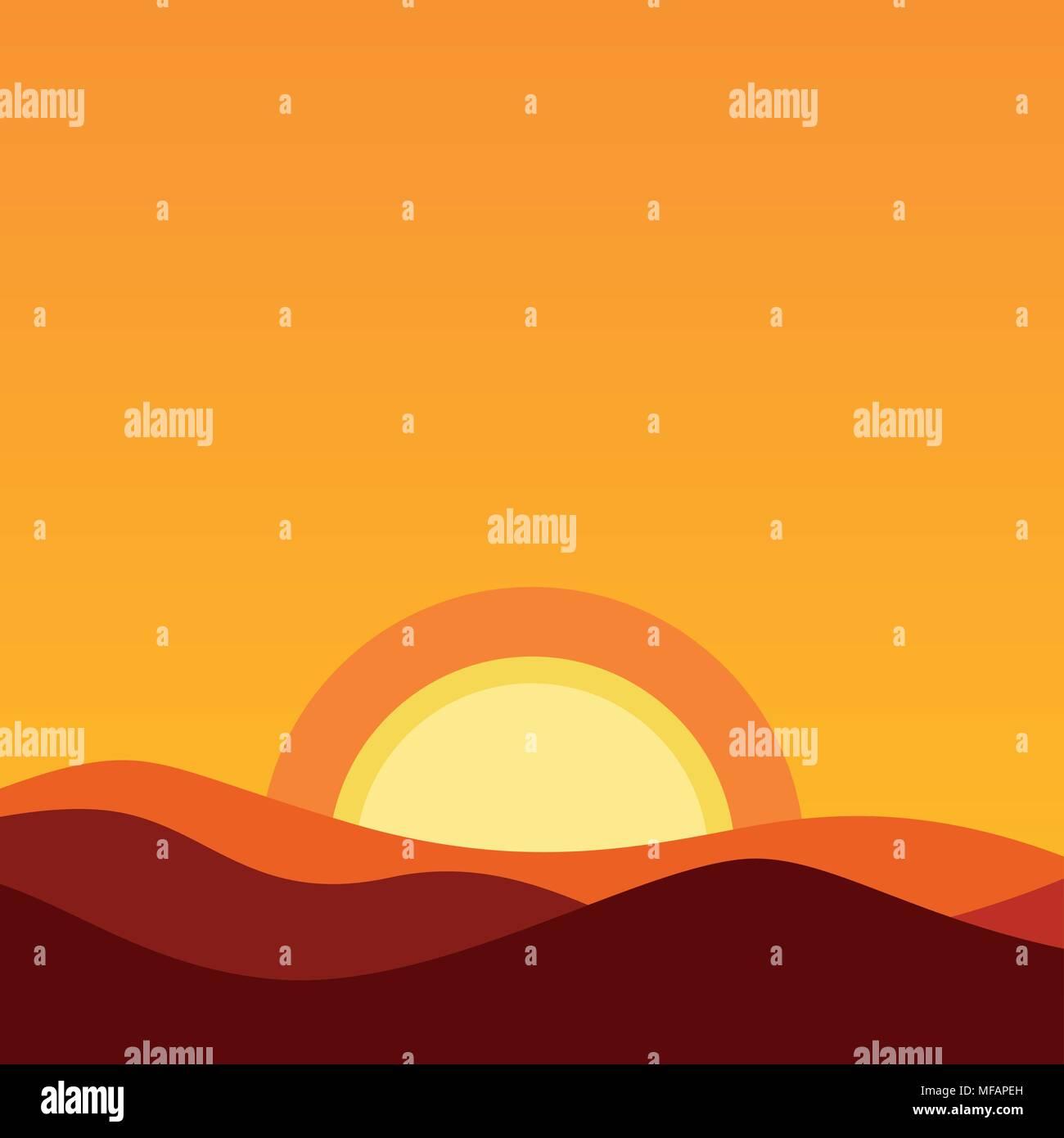 Cartoon Desert Landscape At Sunset Vector Background Illustration