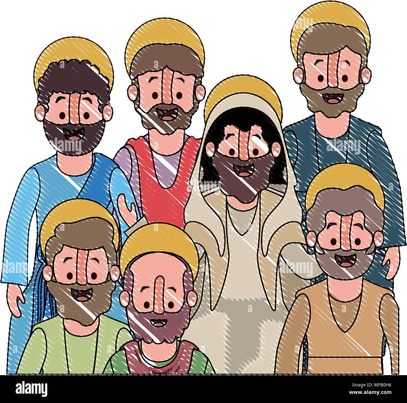 apostles group of Jesus with halo character - Stock Image