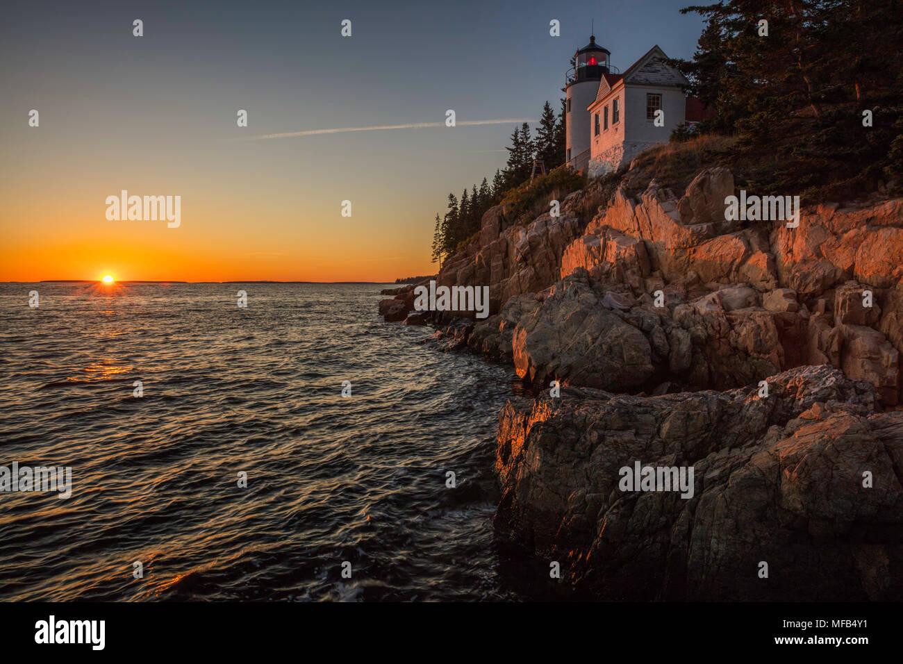 Sunset at Bass Harbor Head Lighthouse, Acadia National Park, Maine Stock Photo