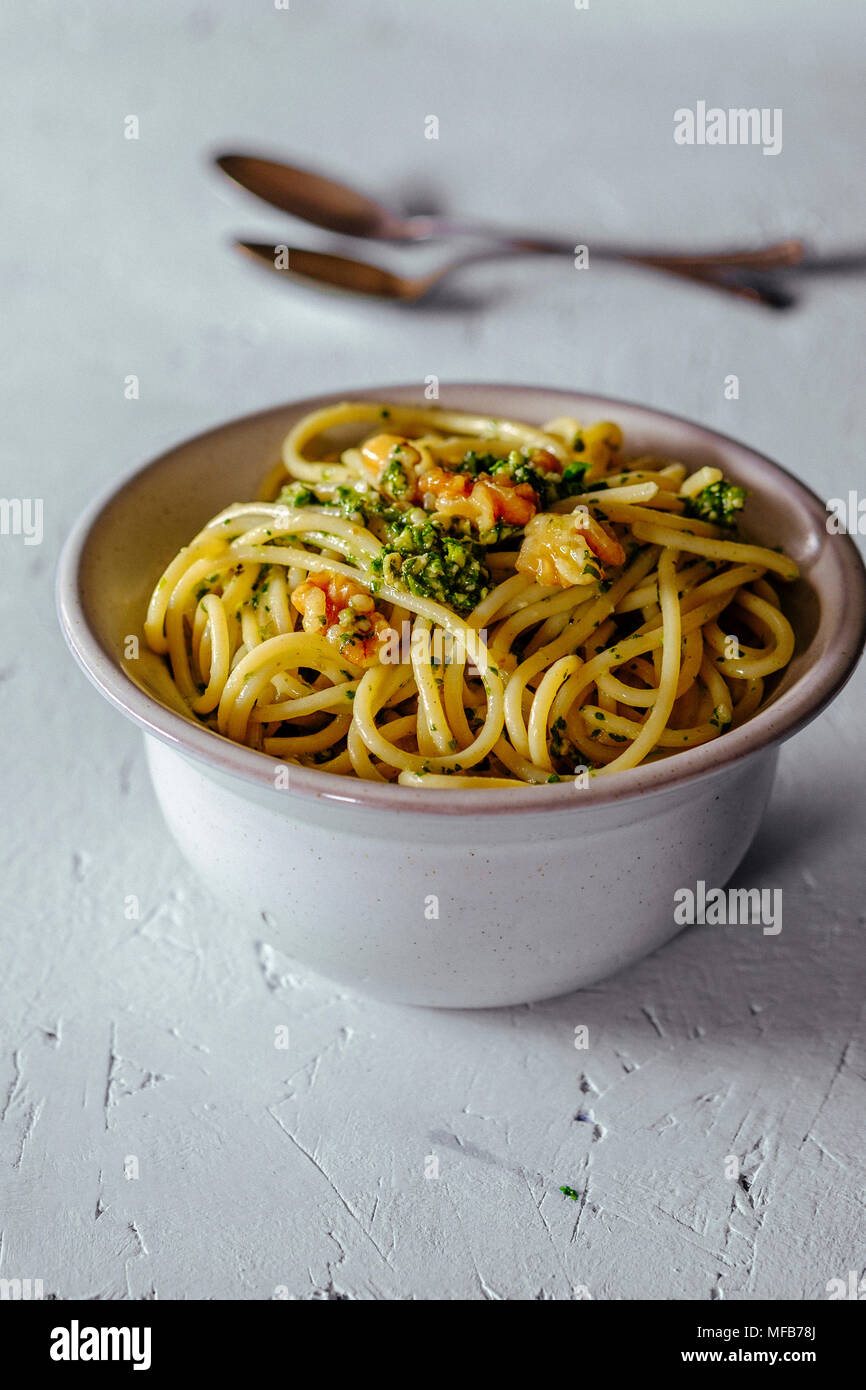 Bowl of Pasta with Pesto - Stock Image