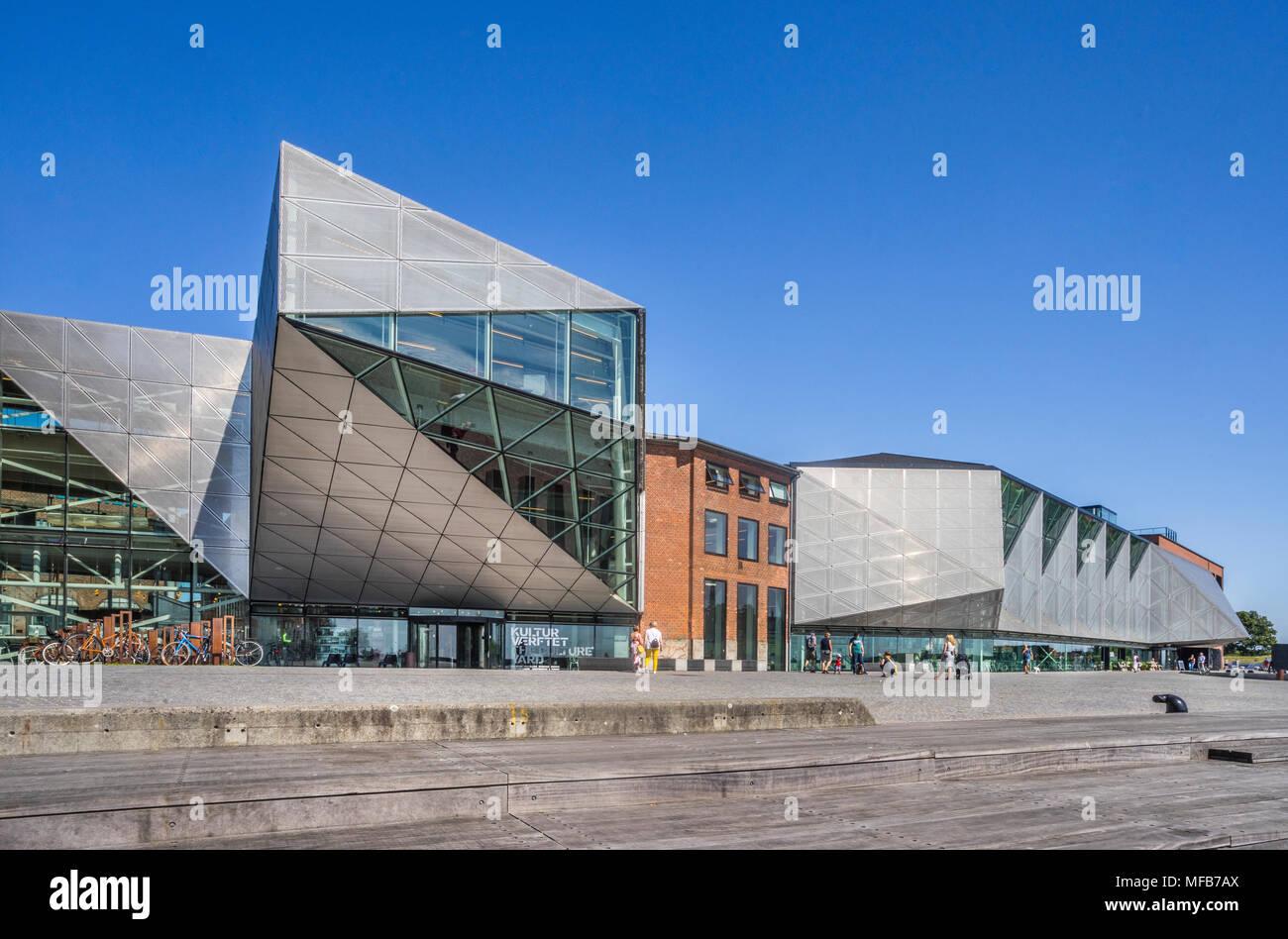 view of Kulturværftet, former Helsingør Værft and cultural centre at the Culture Harbour Kronborg, Helsingor, Zealand, Denmark - Stock Image